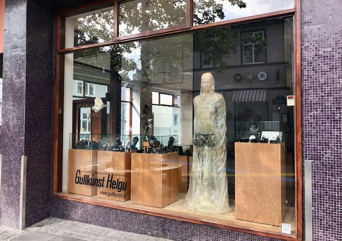 Gullkúnst Helgu sells locally designed lava jewelry.