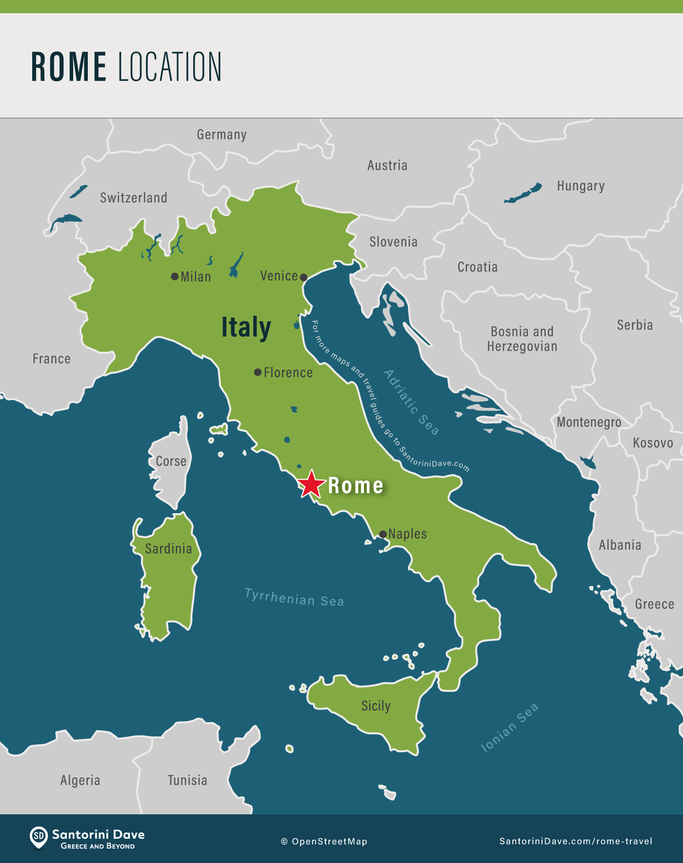 Maps showing location of Rome, Italy