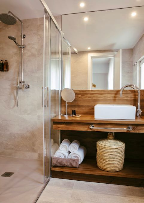 Bathrooms are modern and elegant.