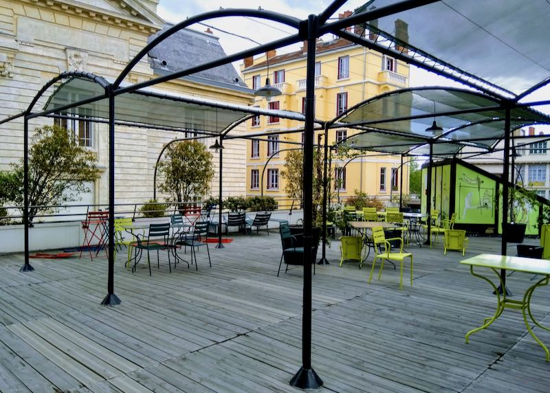 The terrace on the second floor is very inviting.