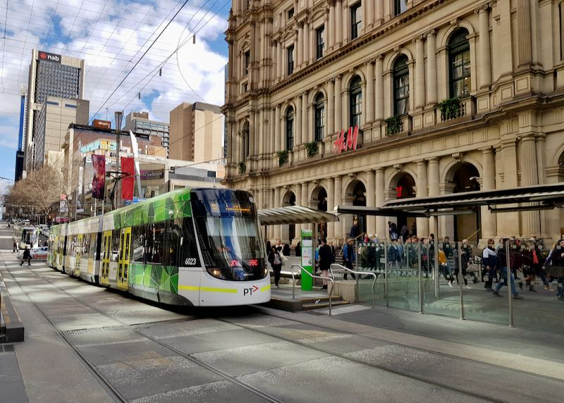 Trams in the city center are free.