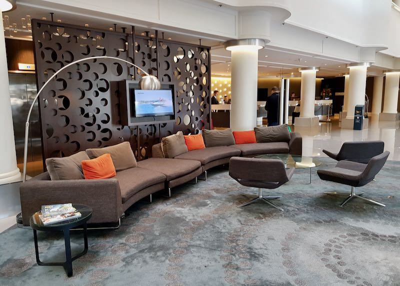 The lobby has lots of relaxing areas.
