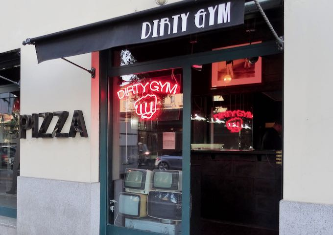 Dirty Gym pizzeria is next door.