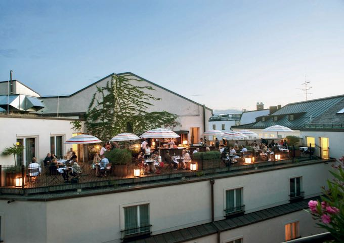 The roof terrace is popular in warm weather.