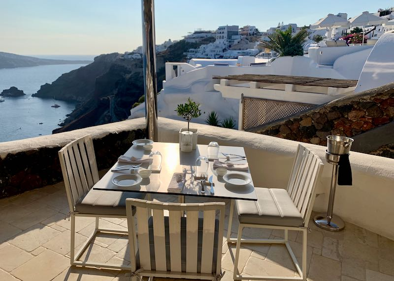 patio dining at Petra in Oia