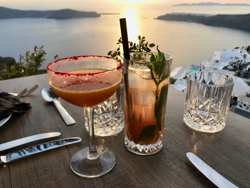 santorini athenian house restaurant cocktails