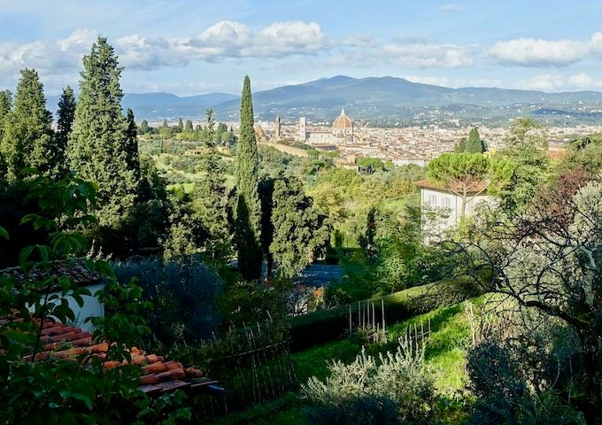 View of the city and olive groves from San Miniato in Florence, Italy