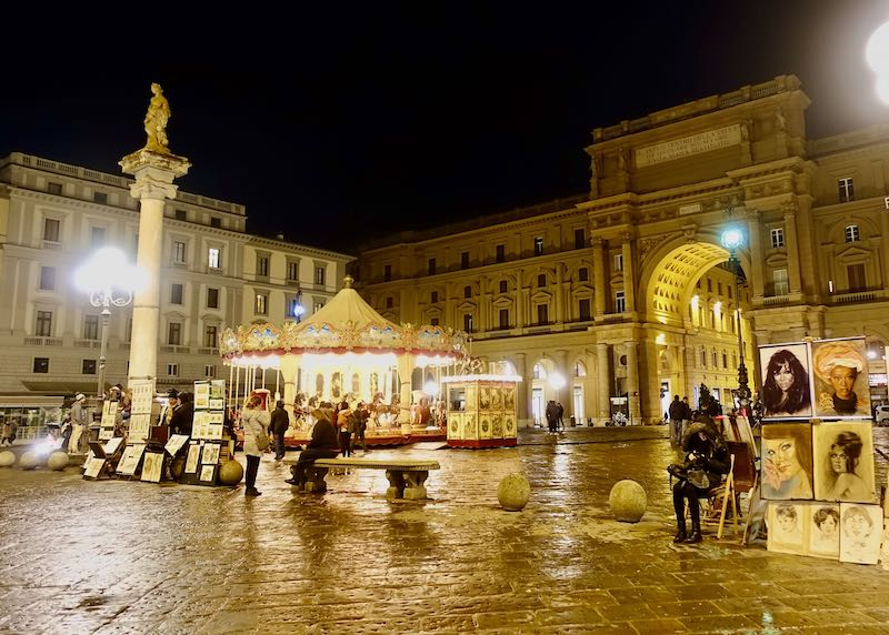 Carousel and street art at Piazza della Repubblica in Florence, Italy