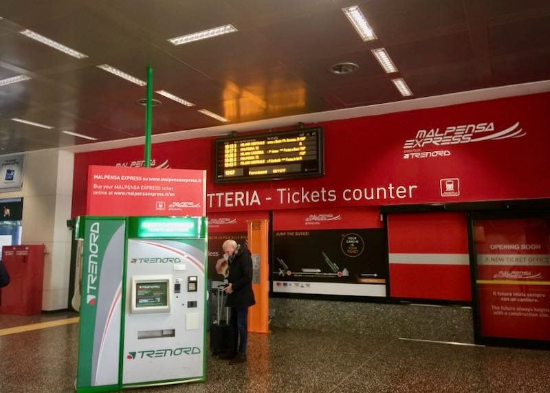 Ticket counter for the Malpensa Express shuttle train at Milan airport