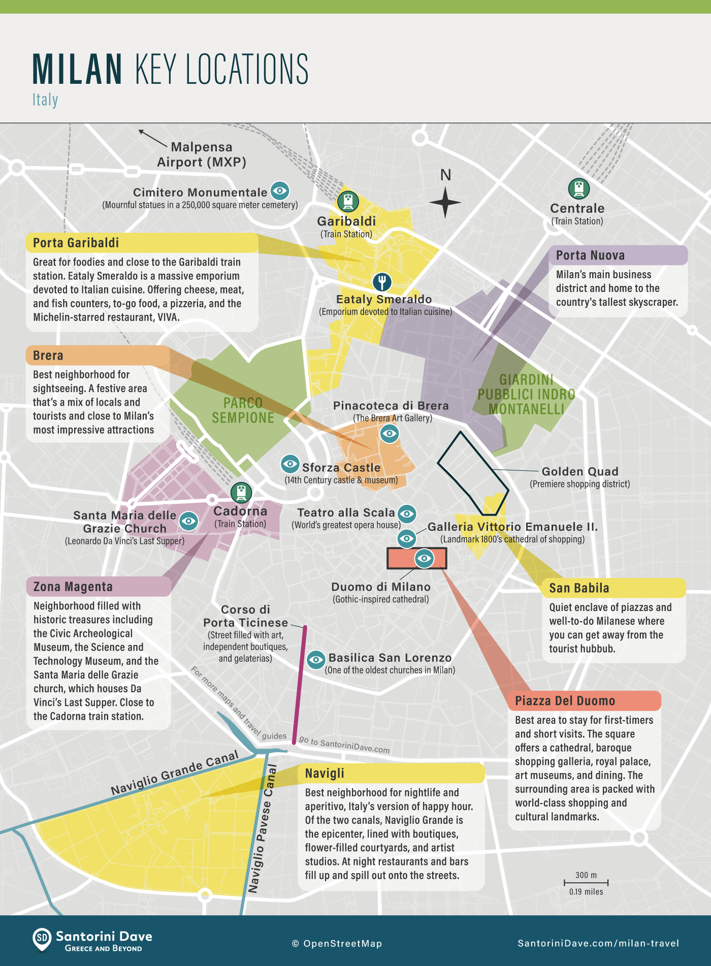 Map of Milan, showing and describing the best areas for tourists.