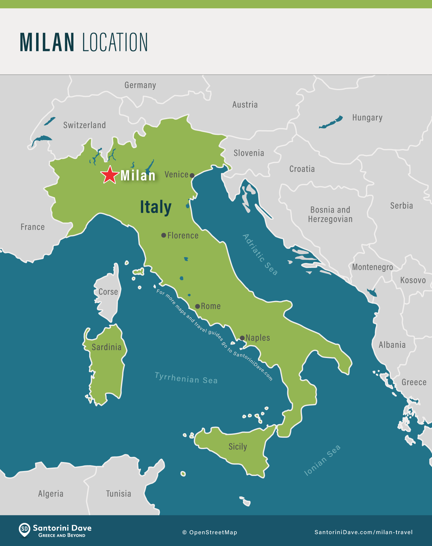 Map showing the city of Milan's location within Italy
