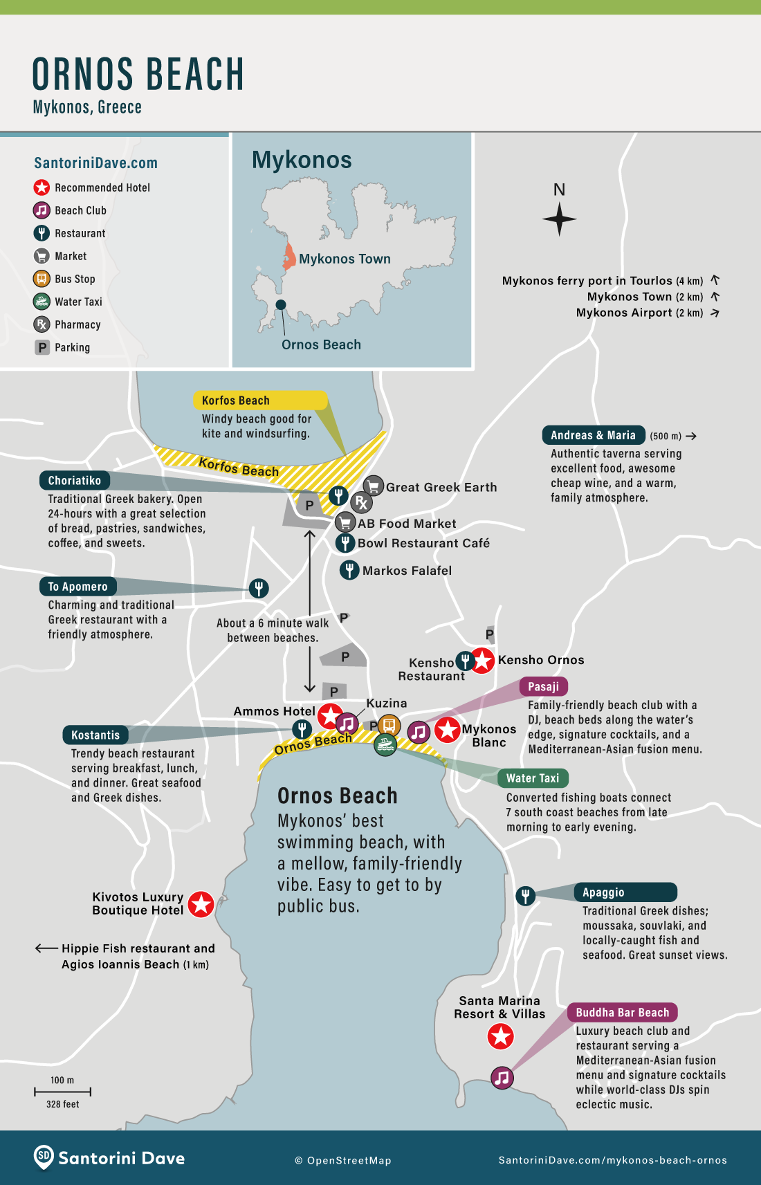 Map showing the area surrounding Ornos Beach, including restaurants, beach clubs, and hotels
