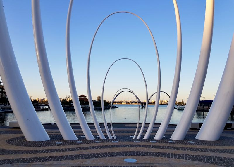 Elizabeth Quay features a lot of cafes and a bus station.