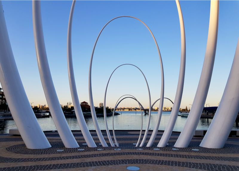 The Spanda sculpture is right by the water.