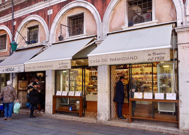 Casa del Parmigiano cheese shop in Venice, Italy