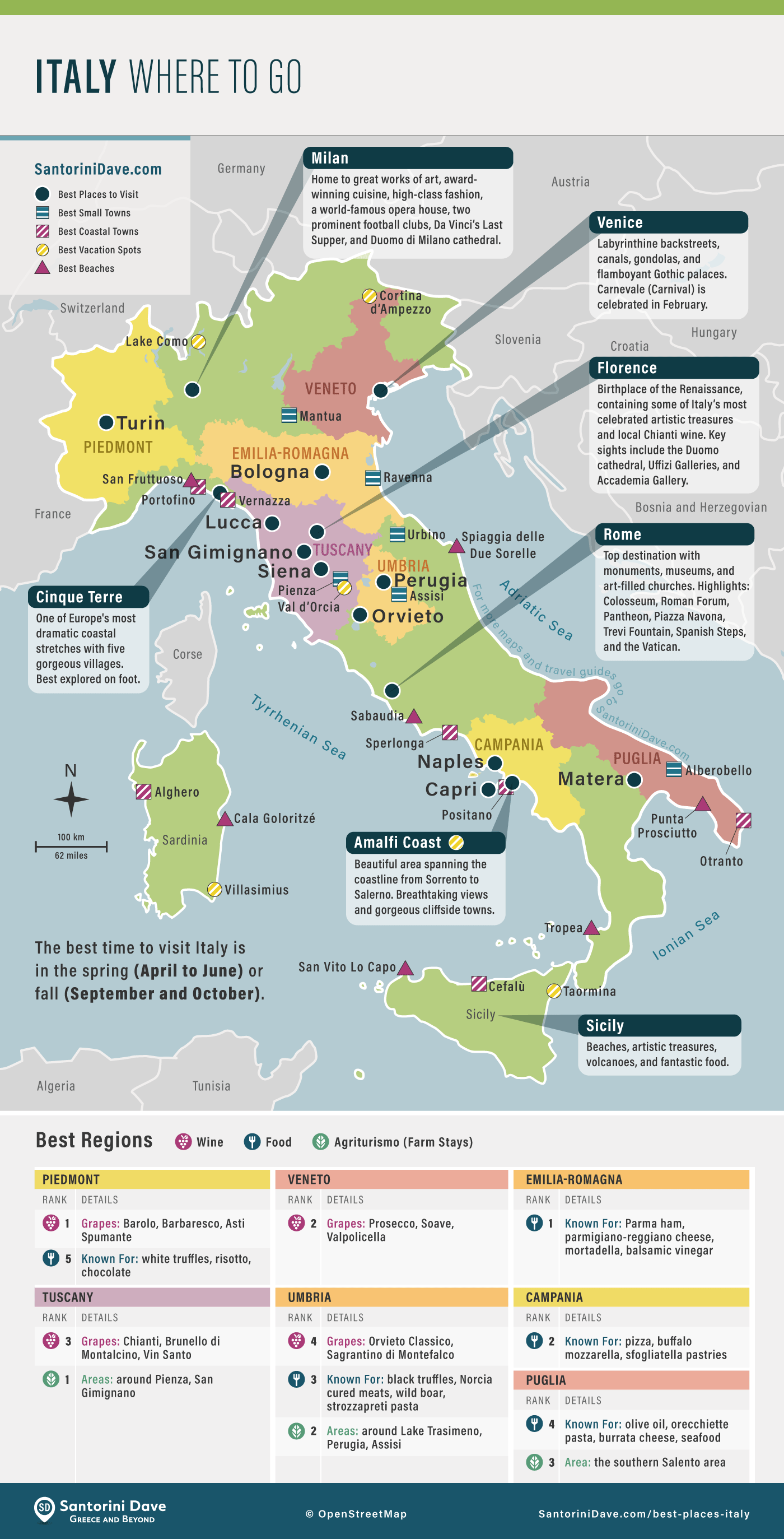 Map showing the best towns, beaches, and vacation spots to visit in Italy