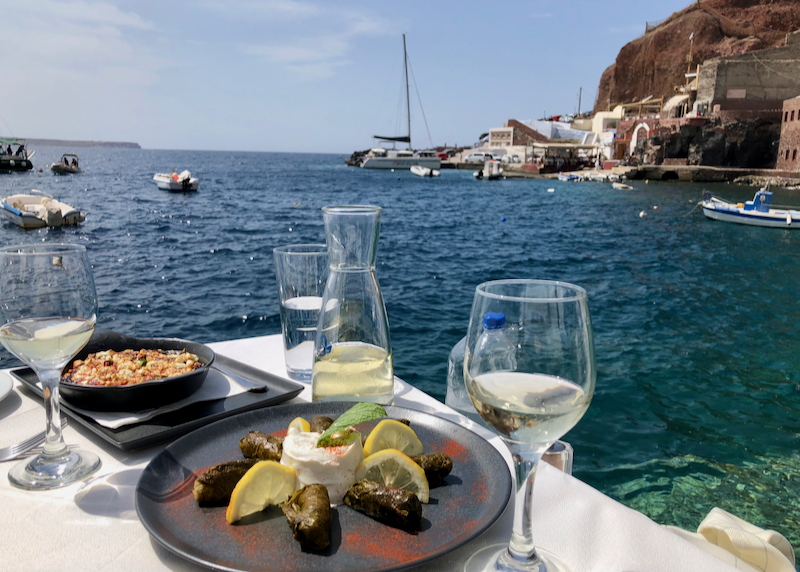 table with food and water view
