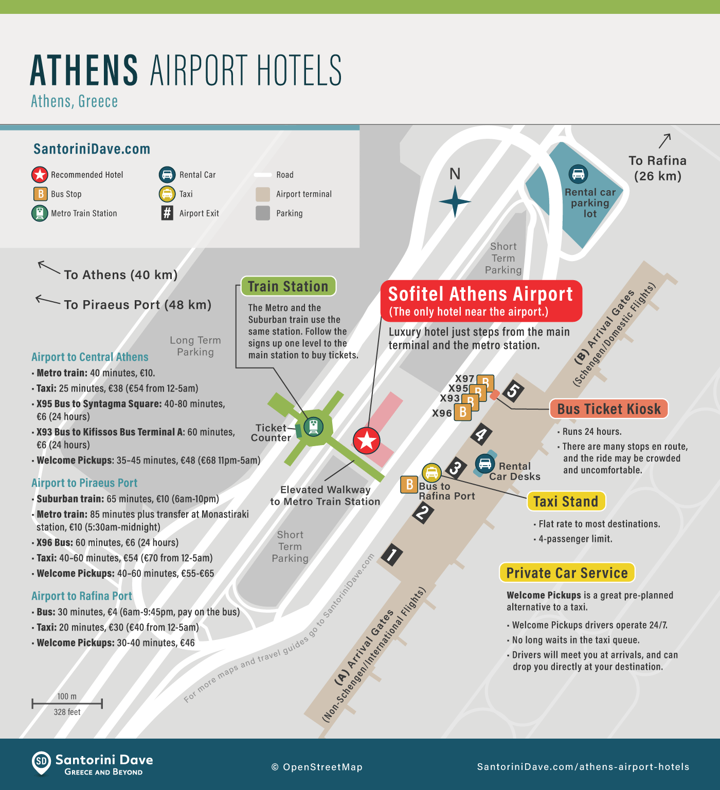 Map of Athens Airport Hotels.