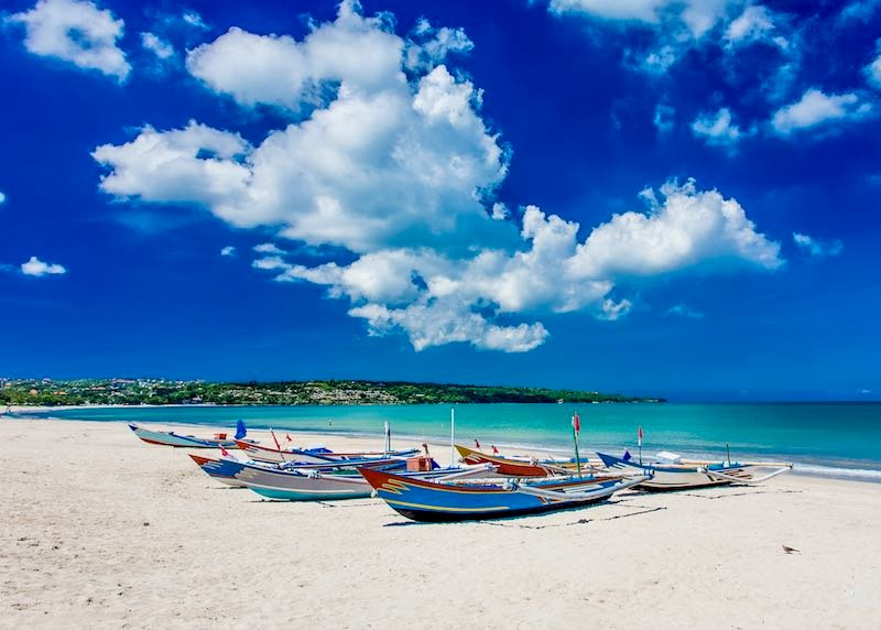 Beach hotels in Jimbaran, Bali.