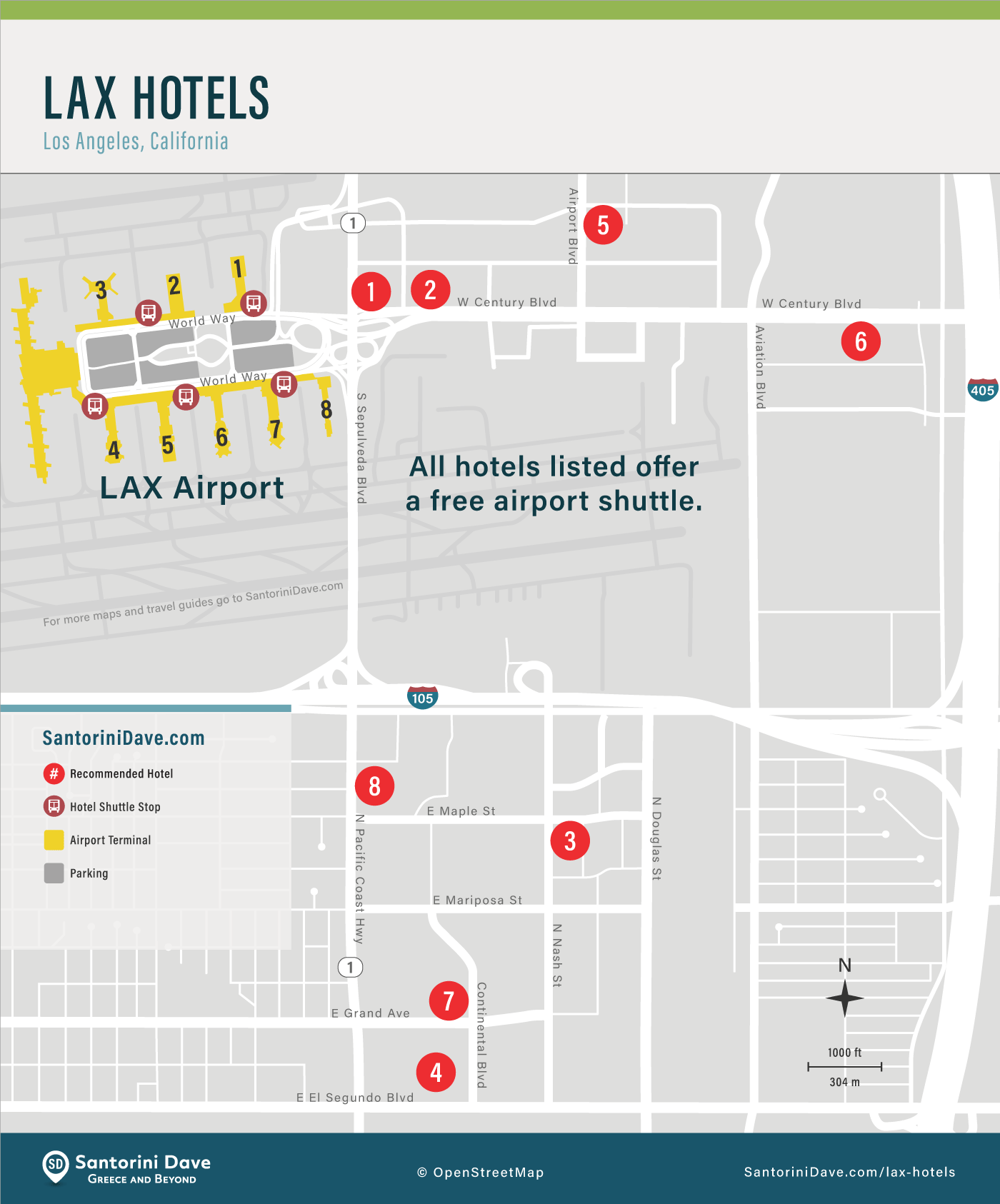 Map of hotels near LAX Airport in Los Angeles.