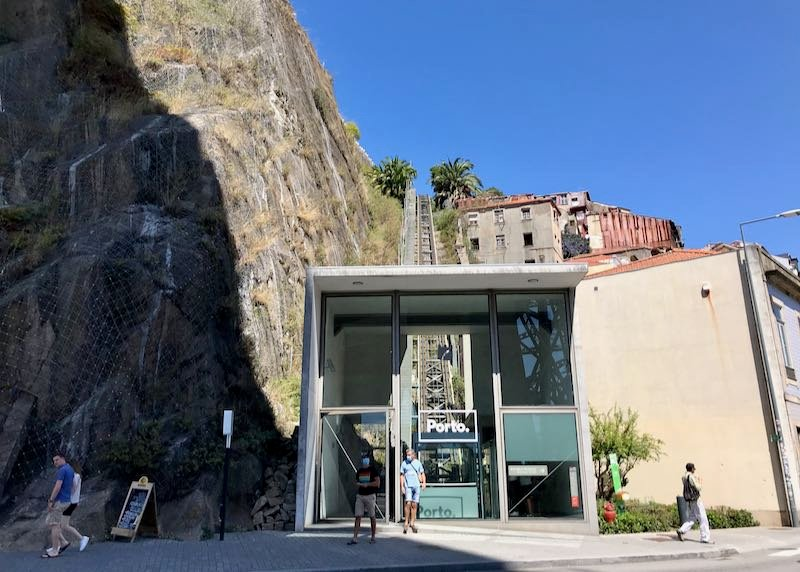 A funicular goes back uphill from the river.