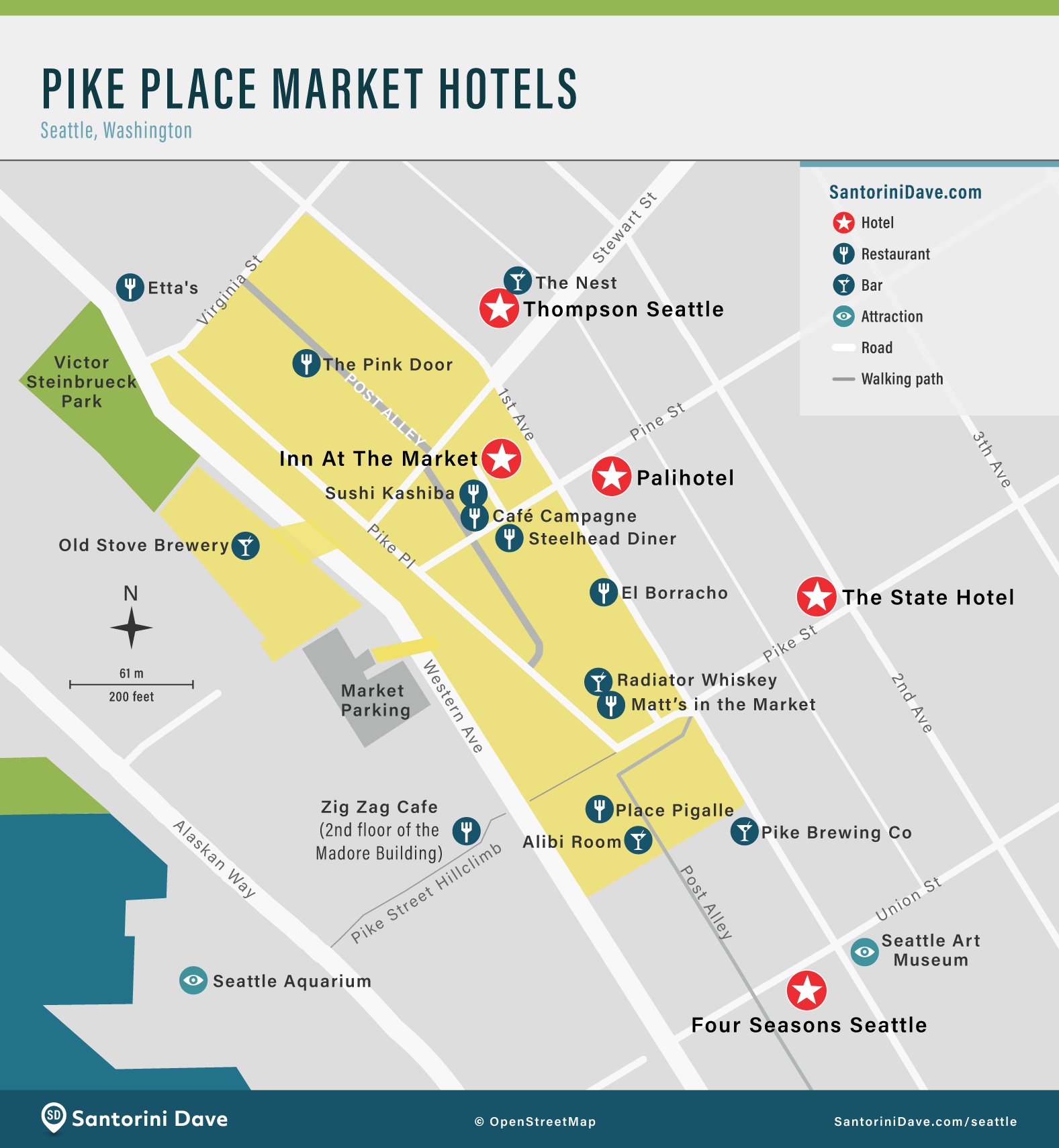 Map of Pike Place Market Hotels