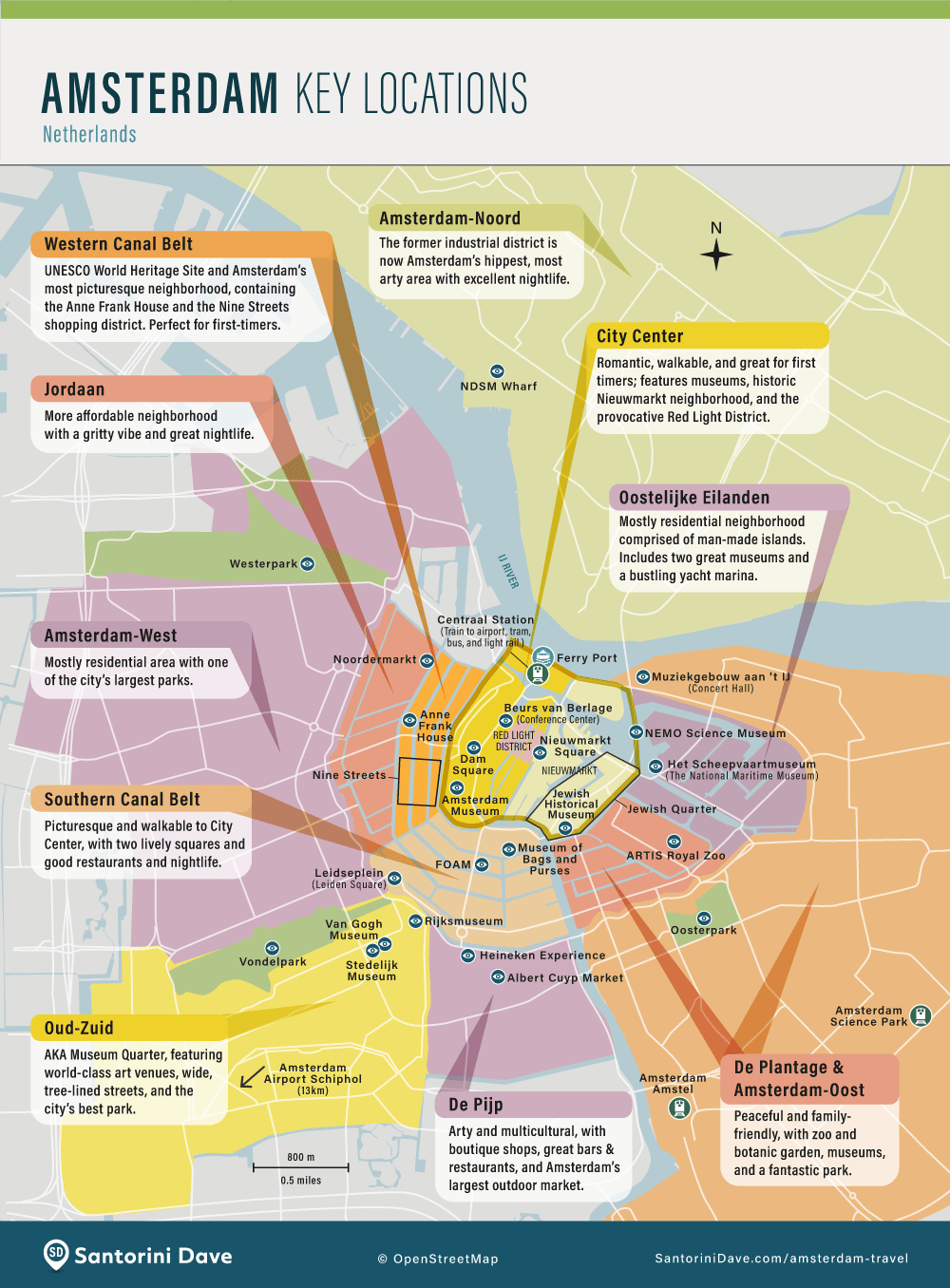 Map showing the best neighborhoods and main attractions in Amsterdam