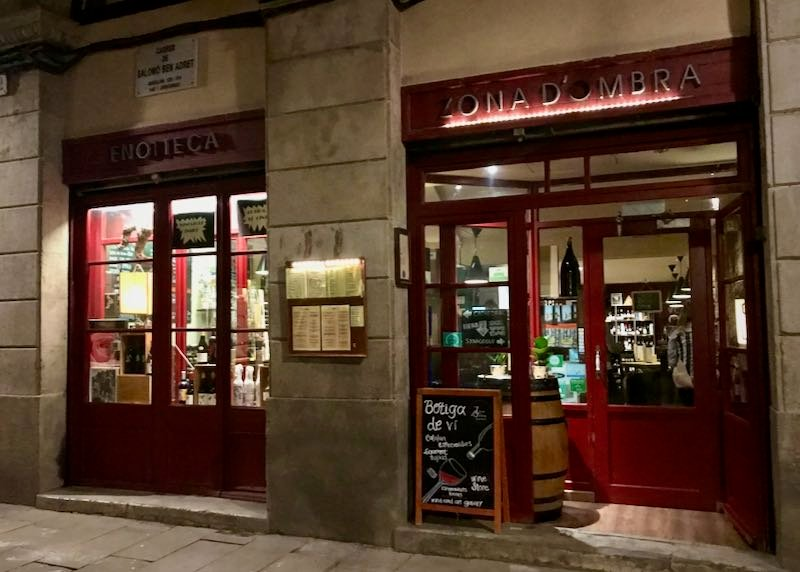 Exterior of a bar in Barcelona at night