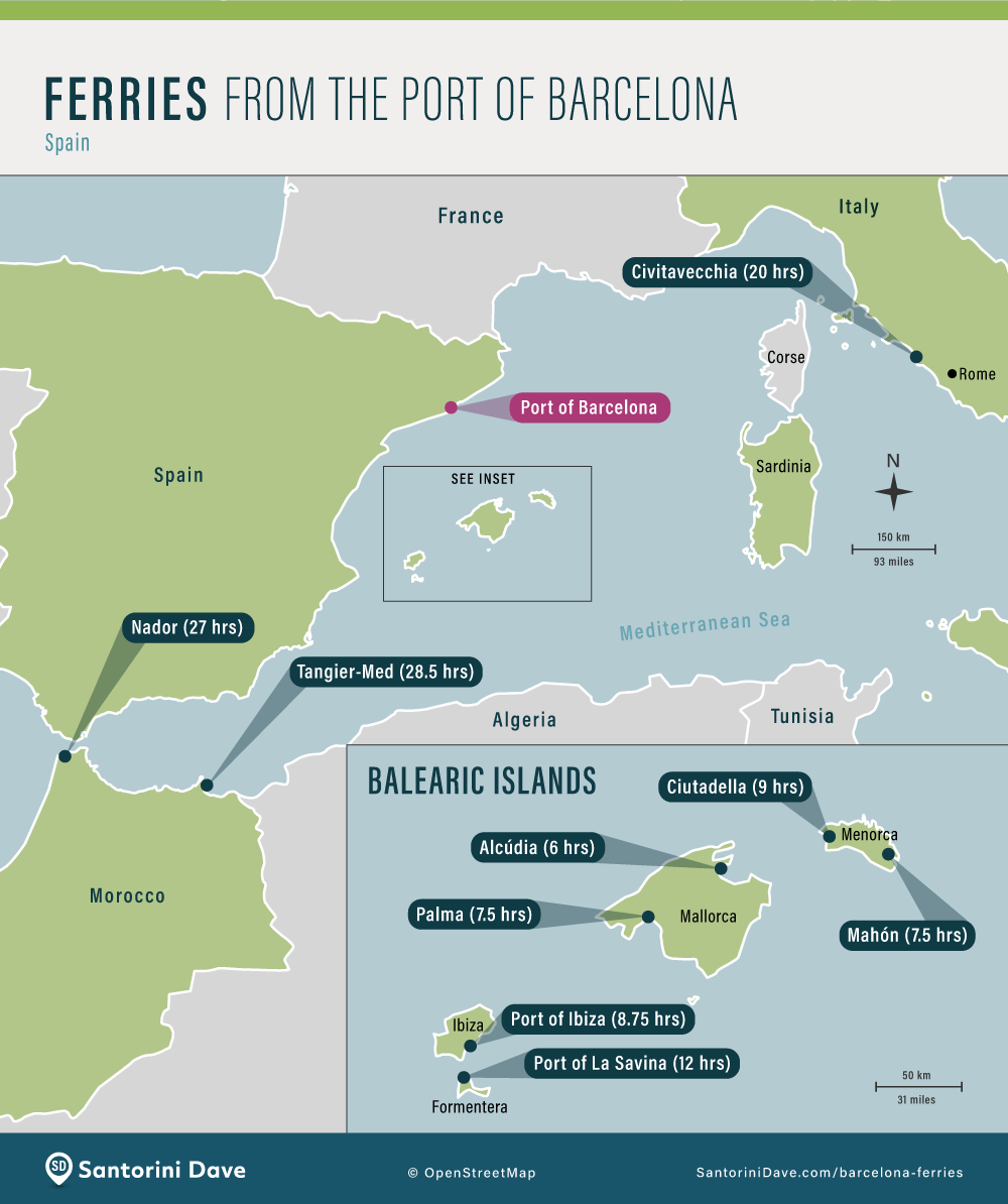 Map showing the ferry ports that are served by Barcelona ferries