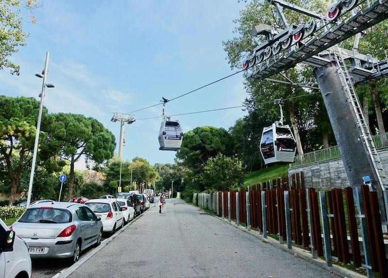 Cable Cars at Montjuïc Station in Barcelona