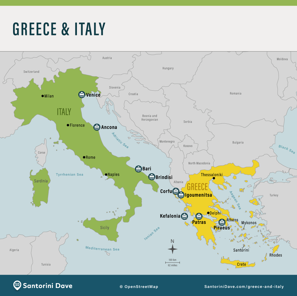 Places to go in Greece and Italy.