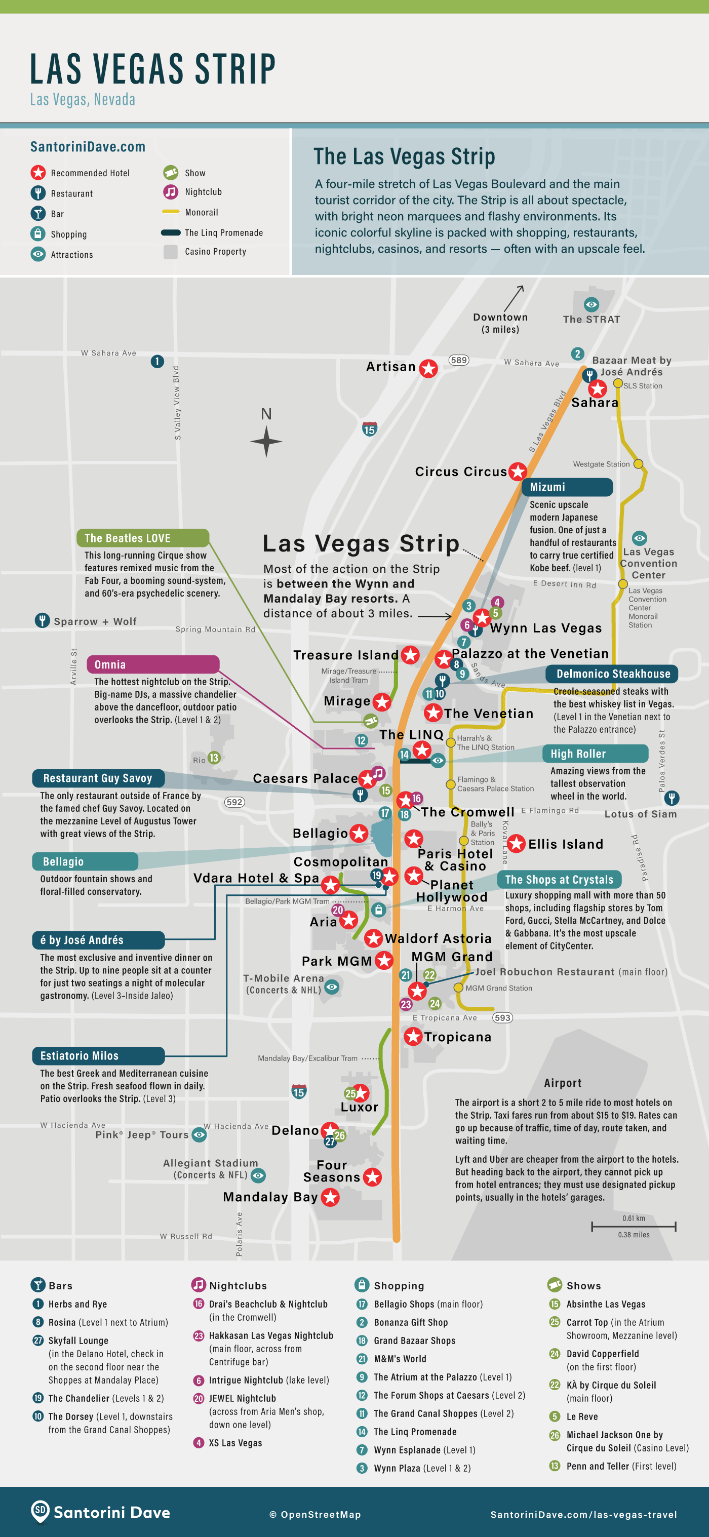 Map of hotels and resorts on Las Vegas Strip