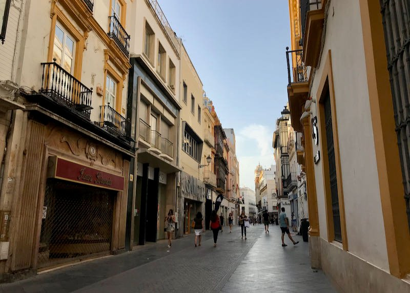 Calle Sierpes is a pedestrian shopping street.