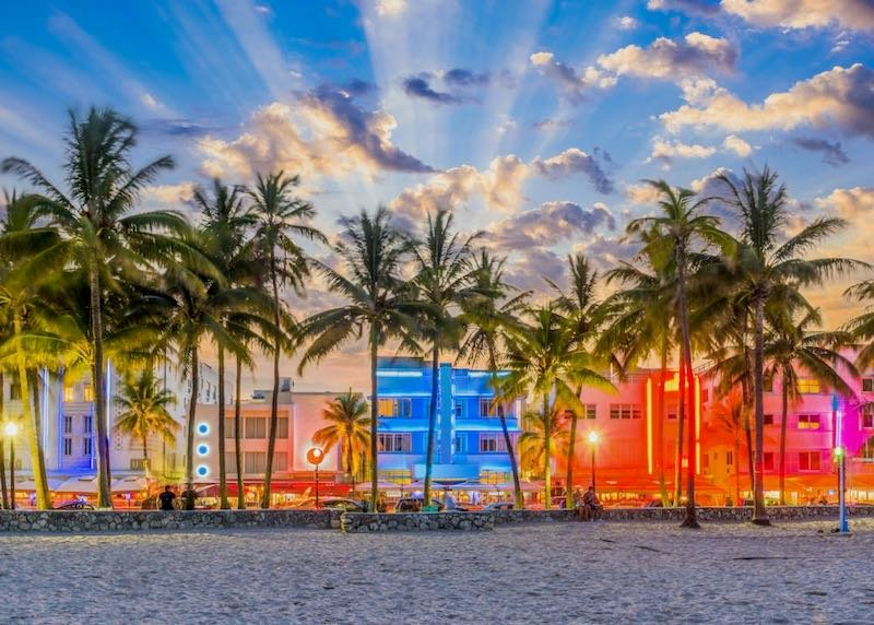 Art Deco and neon lights on Ocean Drive in South Beach, Miami