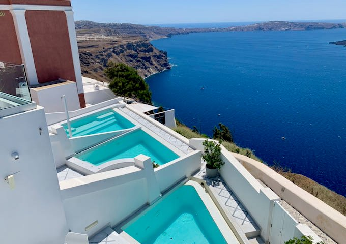 View over the Santorini caldera from the pool suites at Anteliz Suites