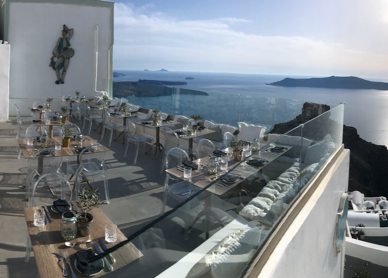 Athenian House restaurant caldera view