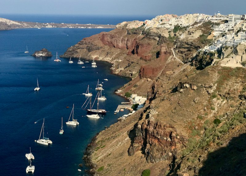 anchored catamarans off oia