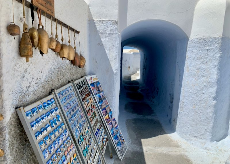 Bells and postcards for sale