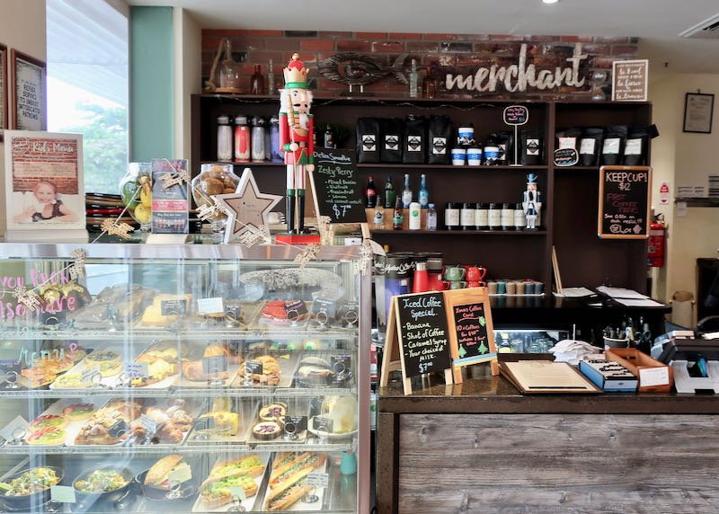 Merchant Artisan café sells cakes and coffees.