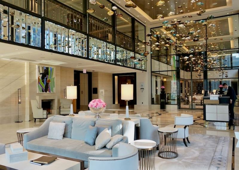 The lobby of the Langham Hotel, Chicago