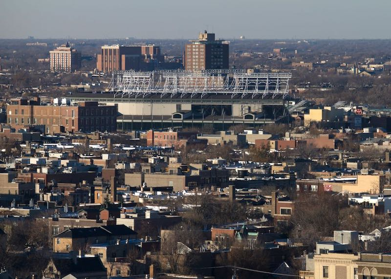 View of the the Lakeview neighborhood and Wrigley Field in Chicago.