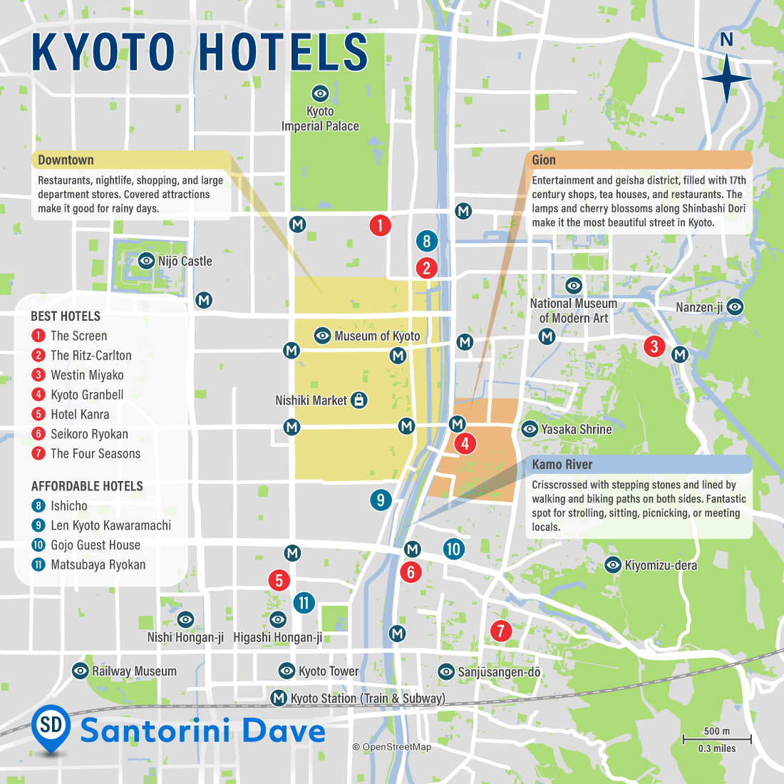 Map of Best Hotels and Neighborhoods in Kyoto, Japan.