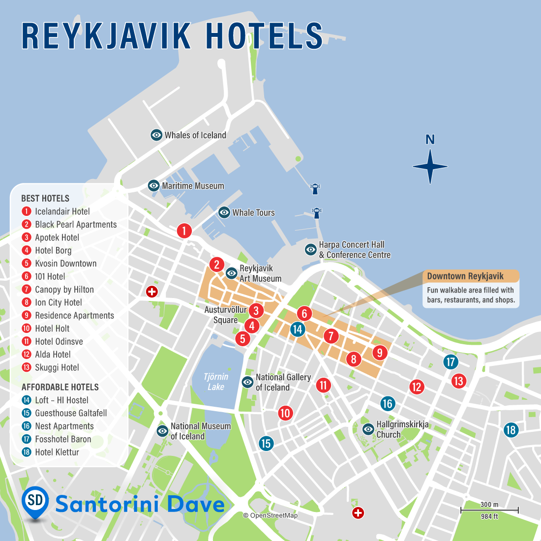 Map of Best Hotels and Neighborhoods in Reykjavik, Iceland