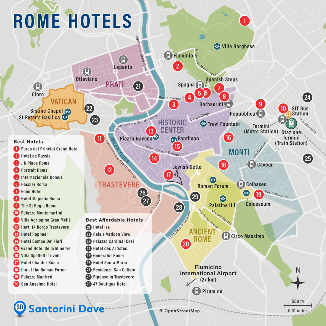 Map of Rome Hotels and Neighborhoods