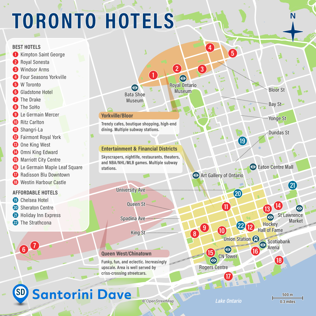 Map of Best Hotels and Neighborhoods in Toronto, Canada.