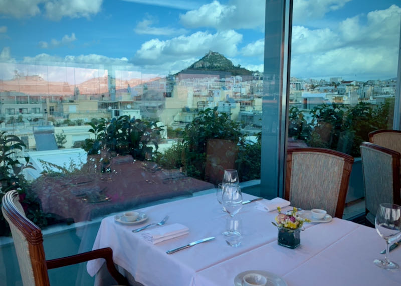 View from a hotel restaurant of Lycabettus Hill