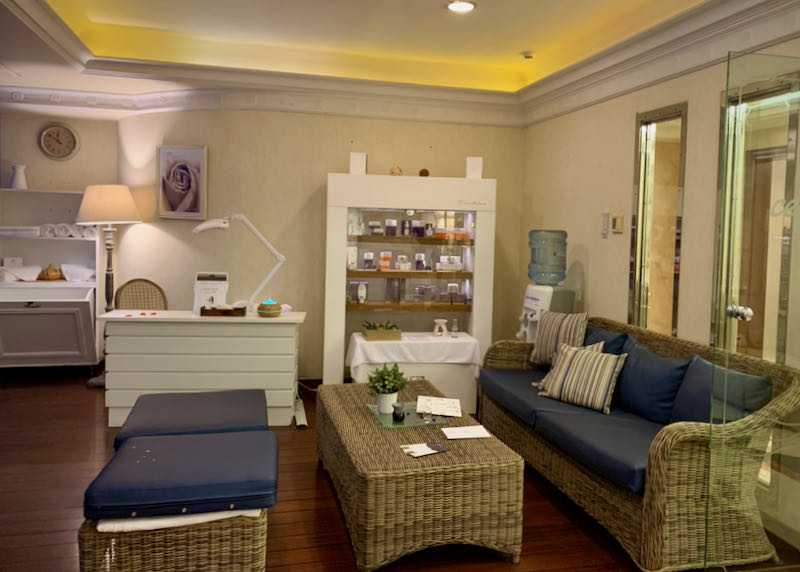 Spa lobby with products on display.