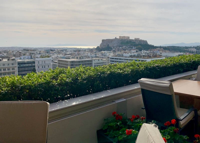 View of the Acropolis from Hotel Grande Bretagne in Athens