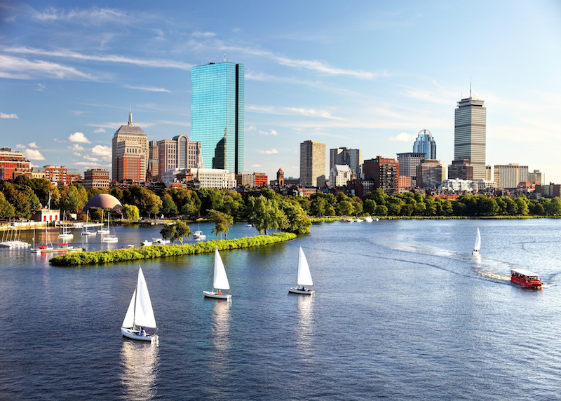View of Boston skyline with sailboats