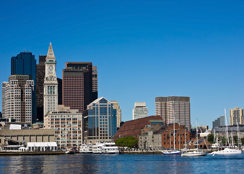 Boston's historic Long Wharf in the Waterfront neighborhood